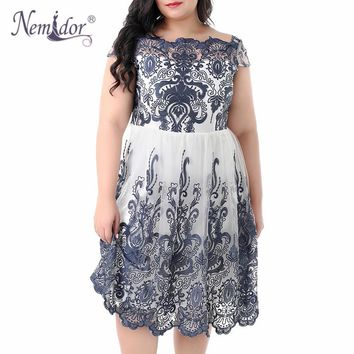 Nemidor 2018 High Quality Embroidery Mesh Party A-line Dress Vintage O-neck Plus Size 7XL 8XL Cocktail Swing Dress