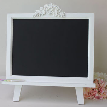 Large Chalkboard with Easel - Wedding Chalkboard - Children's Chalkboard - Shabby Chic Chalkboard - Tabletop Magnetic Chalkboard