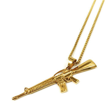 Stainless Steel Gold Machine Gun Necklace