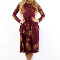 Berkshires Floral Wine Fit and Flare Long Sleeve Pocket Dress
