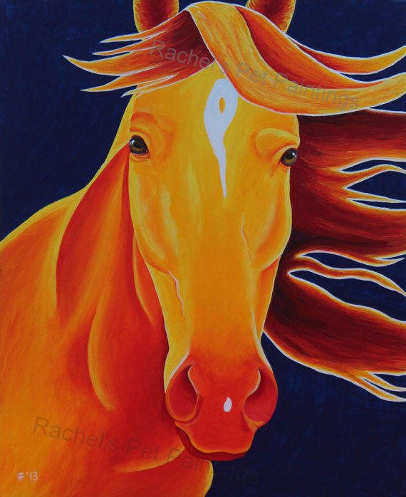 Horse Art Print Of Acrylic Painting From
