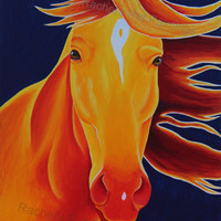 Horse Art Print of Acrylic Painting , Farm Animal Pop Art , Limited Edition Giclee Print
