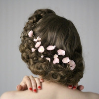 "Cherry Blossom Hair Clip Fascinator, Blush Pink Flower Headpiece, Vintage Wedding Floral Accessory - ""Spring's Sweet Kiss"""