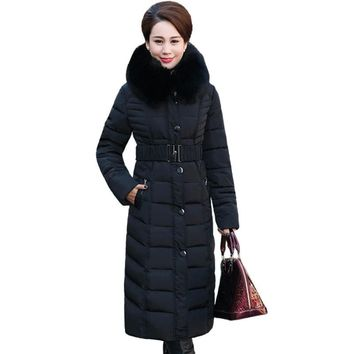 2017 Full Time-limited Ukraine New Middle - Aged Elderly Long Jacket Warm Winter Coat Thicker Mother Fitted Women Cotton Dress