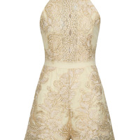 Golden Embroidery Lace Halter Cross Strap Back Romper Playsuit