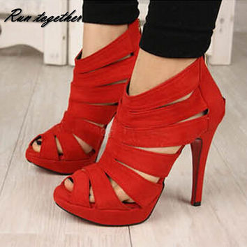 cut-outs pumps peep toe high heels