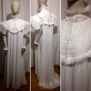 Crimson peak inspired nightdress, pleated chiffon.