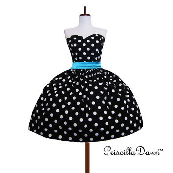 Custom in your size Polkadot Rockabilly Dress dots Prom Mad Men Inspired