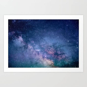 Navy Blue Star Galaxy Art Print, Blue Glitter Wall Art, Astronomy Art Print, Blue Stars Wall Art, Galaxy Bedroom Decor, Blue Space Wall Art