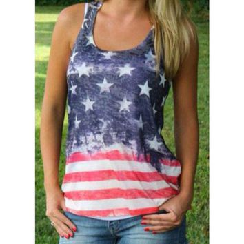 2016 New Women Casual T Shirt Tops Stars And Stripes Print T Shirt American Flag Print Tops T Shirt Tanks X60*e3502