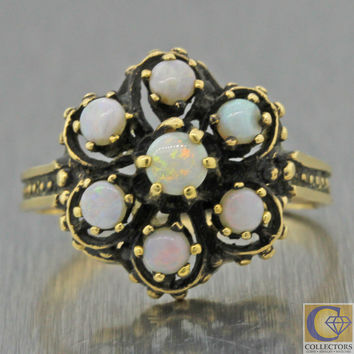 1880s Antique Victorian Estate 14k Solid Yellow Gold Opal Cluster Cocktail Ring
