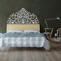 Headboard Wall Art Vinyl Decal Sticker Home Decor Bedroom Bed Room Kids Girls Decor