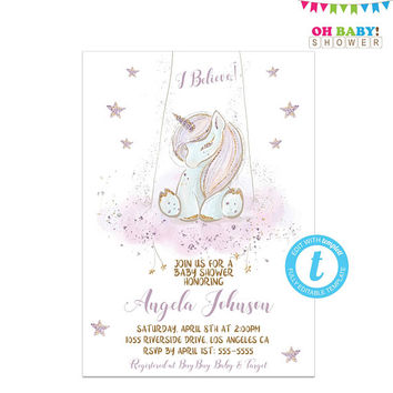 Unicorn Baby Shower Invitation, Template, Editable Invitation, Glitter Unicorn, Purple and Gold, Magical Baby Shower, Templett Editable UNI2