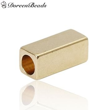"""Brass Spacer Beads Rectangle Brass Color About 3mm( 1/8"""") x 3mm( 1/8""""), Hole: Approx 2.1mm, 100 PCs new"""