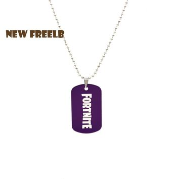 New Arrival 10 Colors Fortnite Necklaces Hot Game Aluminium Dog Tag Red Black Blue Yellow Pendant Jewelry for women and men Fans