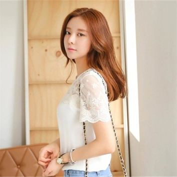Promo 2016 Summer Style Korean Fashion Patchwork Embroidery Lace Casual White Chiffon Blouse Women Shirts Blouses For Women Tops