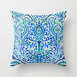 Sapphire and Emerald Tulip Watercolor Damask Throw Pillow by Tangerine-Tane