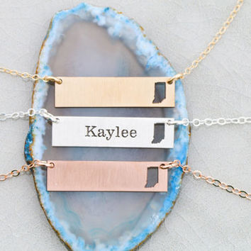 FREE SHIP • Indiana State Necklace • Indiana Jewelry • Layered Bar Necklace • Bar State Jewelry • State Pendant Map Necklace Engraved State