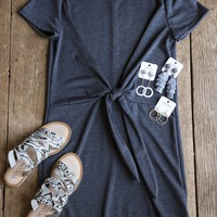 French Terry Tie Waist Dress, Charcoal