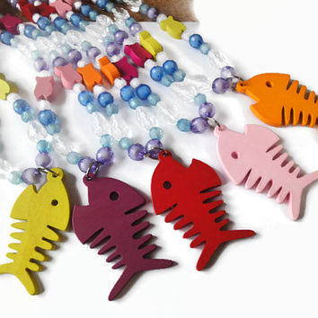 Children's beaded wood fish bone pendant long necklace, underwater, ocean, sea life, kids, toddler, girls, jewelry, gift, colorful