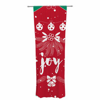 "Famenxt ""Christmas Joy"" Red Green Digital Decorative Sheer Curtain"
