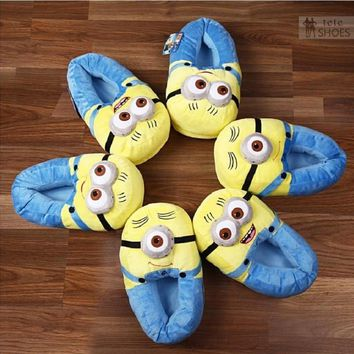Plush Stuffed Cartoon 3D Minion Home Slippers Winter Soft Indoor Children Female Slippers Couple Lover Cosplay House Shoes