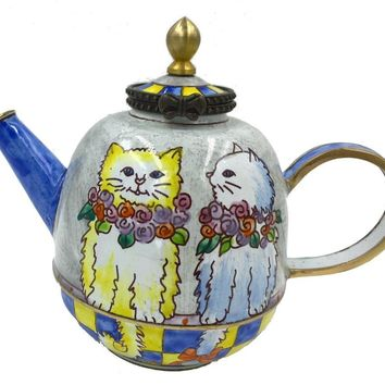 Cats with Flower Necklaces Having Conversation Miniature Porcelain Teapot