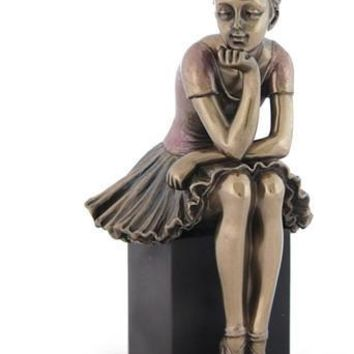 Ballerina Watch and Learn Bronze Figurine 6.25H