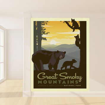 Anderson Design Group's Smoky Mountain Bears Mural wall decal