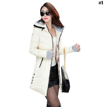 The New Womens Student Feather Cotton Clothing Slim In The Long Paragraph Warm Jacket Cotton Jacket with Large Size Gloves