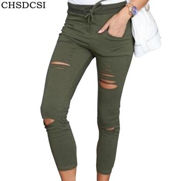 CHSDCSI Women Fashion Cotton Hole Pencil Pants Skinny Nine Points Pants High Waist Stretch Jeans Slim Military Green Trousers