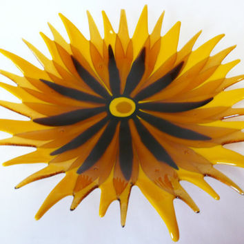 Sunflower Bowl Fused Glass by coppermoonstudio on Etsy