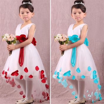 New 2015 Girls Red Cotton V Neck Princess Dress With Flower Belt For Children Clothes Kids Summer Party Dresses = 1929851204