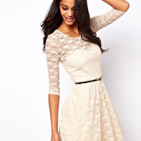 ASOS Skater Dress In Lace with 3/4 Sleeves And Belt