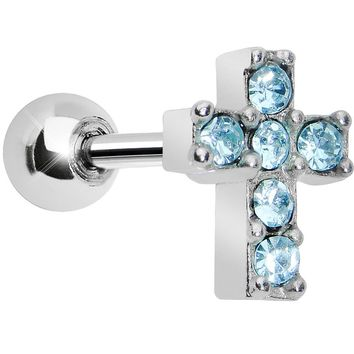 Aqua Gem Sparkling Cross Cartilage Tragus Earring