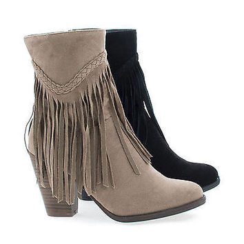 Heather38 Beige By Breckelle's, Western Round Toe Stacked Heel Fringe Ankle Boots