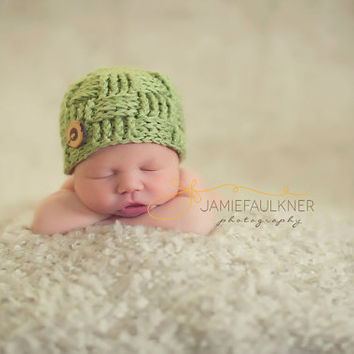 Newborn Crochet Hat - Basket Weave Beanie by GiggledPink