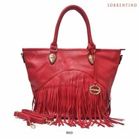 Sorrentino Fashion Large Vegan Leather Fringe Tote with Removable Strap - Assorted Colors