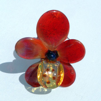 Glass Flower Stemmed Glass Orchid Peach Red Yellow by untamedrose