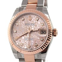 ROLEX Datejust 31 Pink Jubilee Diamond Dial Steel and 18K Rose Gold Ladies Watch 178271