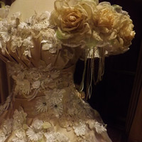 CUSTOM Victorian Champagne Satin Tulle Of Shoulder Wedding Movie Theather Performance Dress Roses Embroidered Appliques Size 6-10