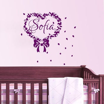 Wall Decals Personalized Name Decal Bow Heart Vinyl Sticker Girl Baby Children Nursery Bedroom Decor Art Murals US11