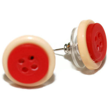 Red and Beige Cute as a Button Vintage Earrings OOAK by chumaka