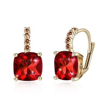 Unique In Style Trendy Earrings Red Asscher Cut Swarovski Pave Leverback in 14K Gold