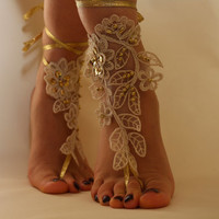 Beach Wedding,Barefoot Sandals,Champagne And Gold Lace Shoes,Bridal Anklet,Bridesmaid Gift