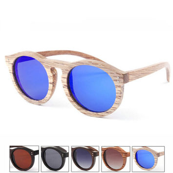 Retro Handmade Bamboo Wood Arms Classic Sunglasses + Bamboo Sunglasses Box 16
