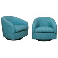 Pair of Teal Swivel Chairs | Pieces