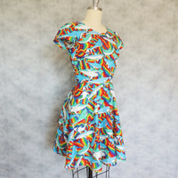 Awesome Shark Dress - Rainbow Low Back Novelty Print Circle Skirt