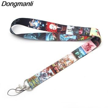 B1919 Dongmanli Alice in Wonderland kids necklace lanyard Badge ID Lanyards/ Mobile Phone Rope/ Key Lanyard Neck Straps jewelry