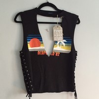 LF NWT Furst of a Kind Lace Up Top